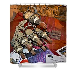 Dust Covered Wine Bottles Shower Curtain by Allen Sheffield