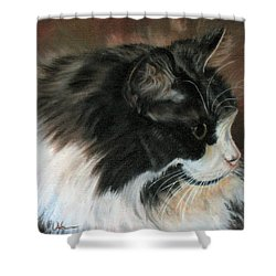 Shower Curtain featuring the painting Dusty Our Handsome Norwegian Forest Kitty by LaVonne Hand