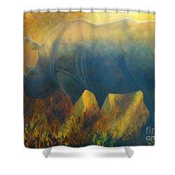 Dusty Rhino Shower Curtain by Caroline Street