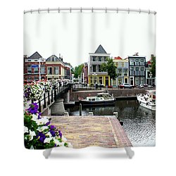 Dutch Cityscape With Boats Shower Curtain by Carol Groenen
