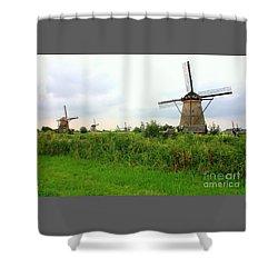Dutch Landscape With Windmills Shower Curtain by Carol Groenen