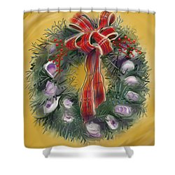 Duxbury Oyster Wreath Shower Curtain by Jean Pacheco Ravinski