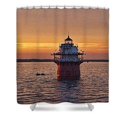Duxbury Pier Light At Sunset Shower Curtain