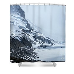 Shower Curtain featuring the photograph Dwarfed By Nature  - Athabasca Glacier by Phil Banks