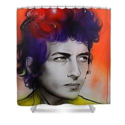 Bob Dylan - ' Dylan ' Shower Curtain by Christian Chapman Art