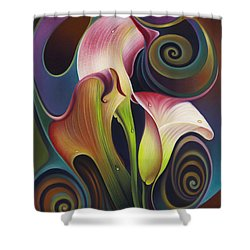 Dynamic Floral 4 Cala Lillies Shower Curtain