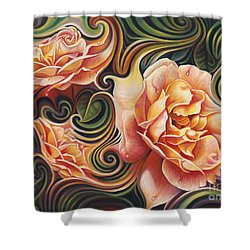 Dynamic Floral V  Roses Shower Curtain