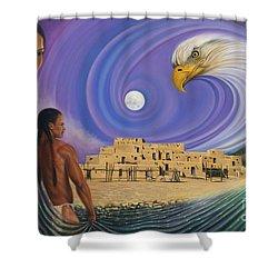 Dynamic Taos I Shower Curtain by Ricardo Chavez-Mendez