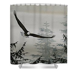 Eagle And Cedars Shower Curtain by James Williamson