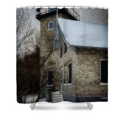 Eagle Bluff Light Shower Curtain by Joan Carroll