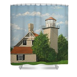 Shower Curtain featuring the painting Eagle Bluff Lighthouse Wisconsin by Norm Starks