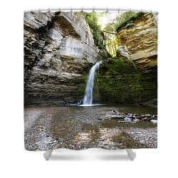 Shower Curtain featuring the photograph Eagle Cliff Falls by Trina  Ansel