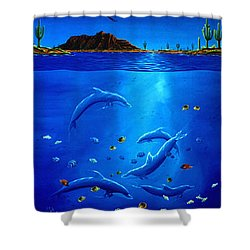 Shower Curtain featuring the painting Eagle Over Dolphins by Lance Headlee