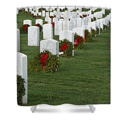 Eagle Point National Cemetery At Christmas Shower Curtain by Mick Anderson