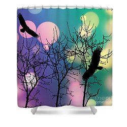 Shower Curtain featuring the digital art Eagle Rebirth Light by Kim Prowse
