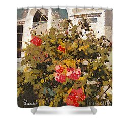 Alameda Roses Shower Curtain by Linda Weinstock