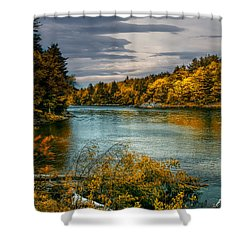 Early Autumn Along The Androscoggin River Shower Curtain by Bob Orsillo