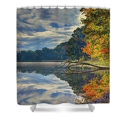 Shower Curtain featuring the photograph Early Autumn At Caldwell Lake by Jaki Miller