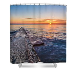 Early Breakwater Sunrise Shower Curtain