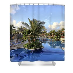 Shower Curtain featuring the photograph Early Morning At The Pool by Teresa Zieba