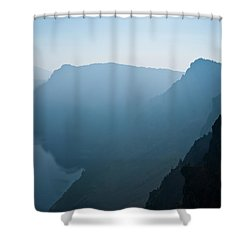 Shower Curtain featuring the photograph Early Morning Fog Over Crater Lake by Jeff Goulden