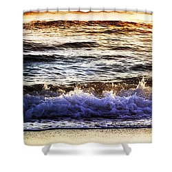Early Morning Frothy Waves Shower Curtain