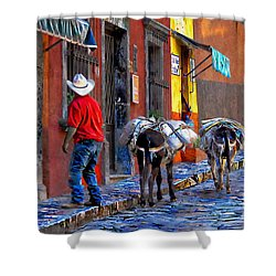 Shower Curtain featuring the photograph Early Morning In Centro by John  Kolenberg
