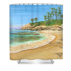 Shower Curtain featuring the painting Early Morning Laguna by Jane Girardot
