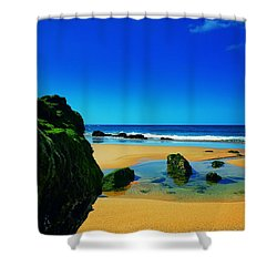 Early Morning On The Beach II Shower Curtain by Marco Oliveira