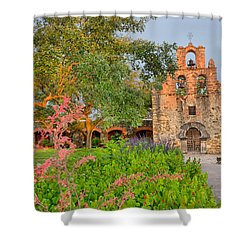 Early Morning Sun Caressing Mission Espada Shower Curtain