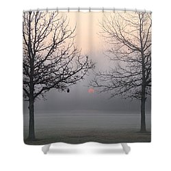 Early She Rises Shower Curtain by Rachel Cohen