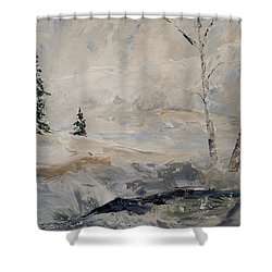 Shower Curtain featuring the painting Early Snow by Alan Lakin