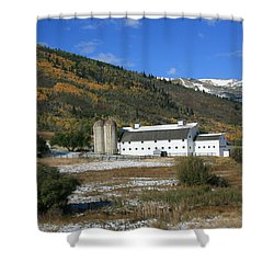 Early Snow At The Farm Shower Curtain