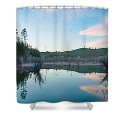 Early Sunset On A Beaver Pond  Shower Curtain by Omaste Witkowski