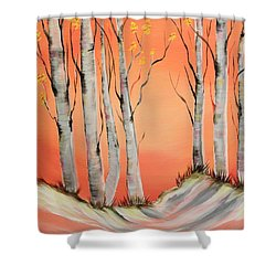 Shower Curtain featuring the painting Early Winter Aspen by Janice Rae Pariza