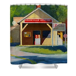 Earlysville Virginia Old Service Station Nostalgia Shower Curtain by Catherine Twomey