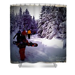 Earning Turns Shower Curtain by James Aiken