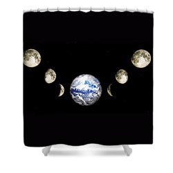 Earth And Phases Of The Moon Shower Curtain by Bob Orsillo