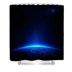 Earth At Night With City Lights Shower Curtain