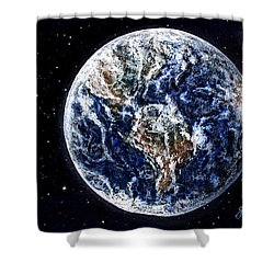Earth Beauty Original Acrylic Painting Shower Curtain by Georgeta Blanaru