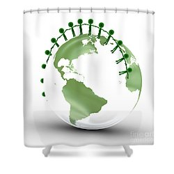 Earth Globe And Conceptual People Together Shower Curtain by Michal Bednarek