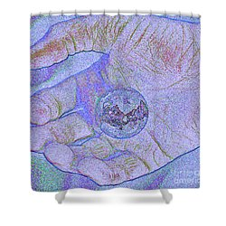 Earth In Hand Shower Curtain by First Star Art