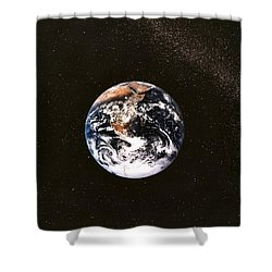 Earth Seen From Apollo 17 Africa And Antarctica Visible Shower Curtain by Anonymous