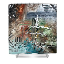 Earth Wind And Fire Abstract Painting Madart Shower Curtain by Megan Duncanson