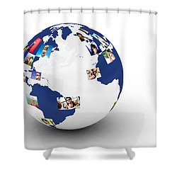 Earth With People Photos In Network Shower Curtain by Michal Bednarek