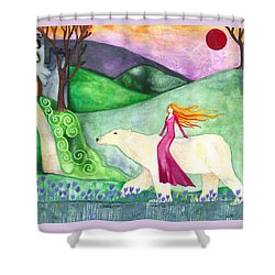 East Of The Sun And West Of The Moon Shower Curtain by Cat Athena Louise