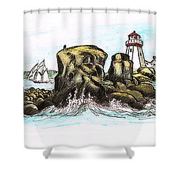 East Quoddy Lighthouse 1887 After Fenn Shower Curtain