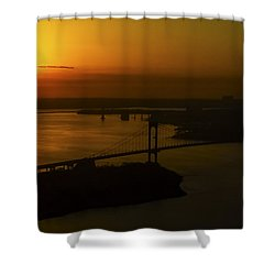 East River Sunrise Shower Curtain by Greg Reed