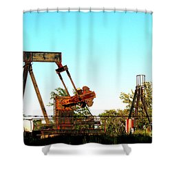 East Texas Oil Field Shower Curtain by Kathy  White