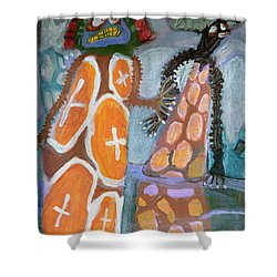 Eastanomically Nutty Shower Curtain by Nancy Mauerman